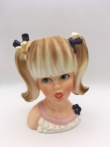 Vintage Mod Teen Lady Head Vase Blonde with Pigtails 1960s Teenrific
