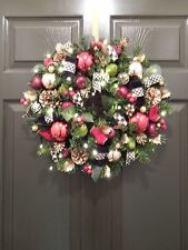 MacKenzie Childs Ribbons, Lighted, CHRISTMAS WREATH, CORDLESS, WREATHES,