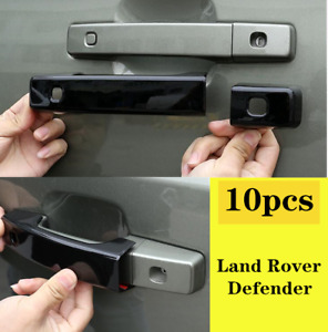 10PC 2020-2021 For Land Rover Defender Glossy black outer door handle cover trim