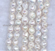 baroque luster AAA 18'' 11-12 MM NATURAL SOUTH SEA white PEARL NECKLACE 14K