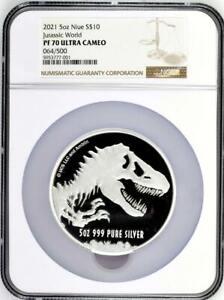 2021 5oz $10 Jurassic World™.999 Silver NGC Proof 70 UCAM #64 N/R!!