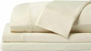 Sheex King Cream Ivory Ecru Sheet Set Flat Fitted 2 Pillowcases lightly used