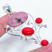 "Rhodonite Coral Gemstone Handmade Ethnic Jewelry Pendant 2.96"" VJ-9488"