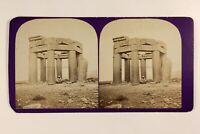 Libano Tempio Ruines Archeologia c1865 Foto Stereo Vintage Albumina
