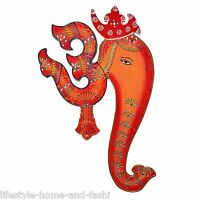 Ethnic Handmade Wooden Indian Art Wall Decor Hanging of God Ganesha with Spiritu