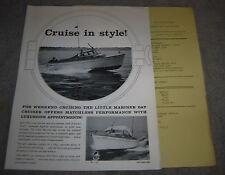 VINTAGE LITTLE MARINER OUTBOARD DAY CRUISER BROCHURE & PRICELIST 1958