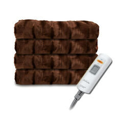 Sunbeam Faux Fur Ultra-Soft Heated Electric Throw Blanket - Walnut Brown