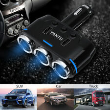 Dual USB Port 3 Way Car Cigarette Lighter Socket Splitter Adapter Charger 12V US