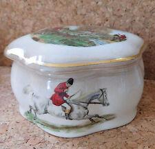 Trinket pot Fox hunting scenes Royal Worcester Palissy vintage 1950s 1960s