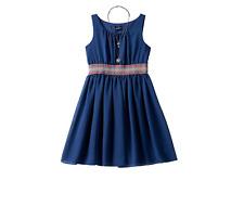NAVY EMBROIDERED WAIST SLEEVELESS DRESS & NECKLACE GIRLS PLUS SIZE 20 1/2 20.5