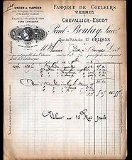 """ORLEANS (45) COULEURS & VERNIS """"CHEVALLIER-ESCOT / Paul BOULAY Succ"""" en 1898"""