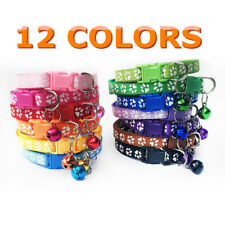 12PCS Lot Cat Dog Puppy Collars Small Pet Collar W/ Bell Strap Gift Wholesale