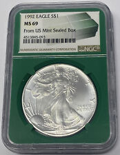 1992 AMERICAN EAGLE 1 OUNCE SILVER DOLLAR NGC MS 69  FROM US MINT SEALED BOX