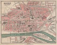 Rouen antique ville city plan de la ville. seine-maritime 1913 old map