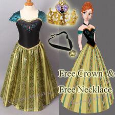 Girl Frozen Dress Disney Princess Queen Anna Party Birthday Costume size 1-14Yrs