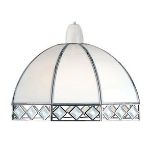 Bevelled Stained Glass White Ceiling Pendant Shade BV8CH