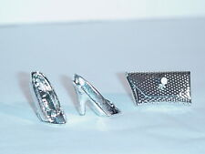 BEAUTIFUL PAIR OF SILVER BARBIE HIGH HEELS AND PURSE