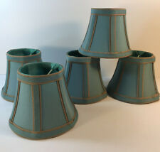 Lamp Shades Small Clip Ons Set Of 5 Turquoise With Beige Trim Unbranded