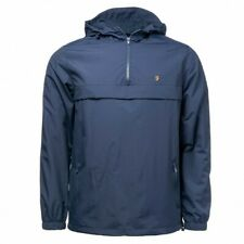 Farah Mani Overhead Windbreaker Jacket Yale Navy - Size XL