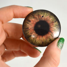Pair of 40mm Brown Steampunk Clock Glass Eyes Cabochons Set - Jewelry or Dolls
