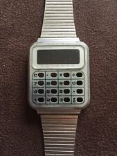 Vintage Calculator Wristwatch Face Plate Silver Watch