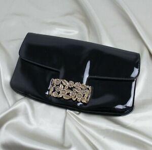 Yves Saint Laurent YSL Vintage Black Patent Leather Clutch Bag
