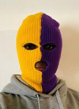 Ski Mask 3 hole Lakers Half Purple half Yellow