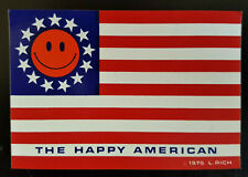Nos-Vintage-The Happy American Flag SmileyFace Decal/Sticker-Dated 1975 L.Rich