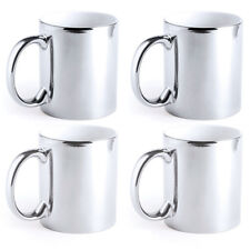 Pack of 4 Ceramic Coffee Mugs Silver Metallic Tea Cups 350 Ml Christmas Gift UK