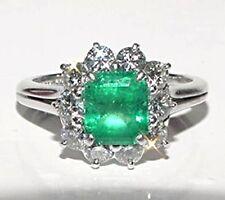 $5.225 Vintage PLATINUM Diamond Columbian Emerald Engagement  Anniversary Ring 6