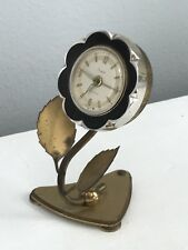 Vintage Sheffield Black Flower Floral Desk Clock West Germany Wind Up Alarm