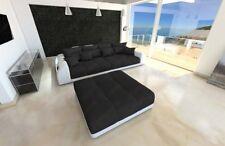 Bigsofa Design Polstercouch MIAMI mit Hocker XXL Strukturstoff Stoffsofa schwarz