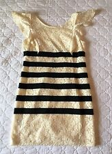 BCBG MAXAZRIA Ivory Lace Black Stripe Cap Sleeve Renata Mini Dress Size 6