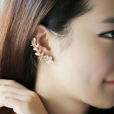 1 pc Flower Shape Rhinestone Crystal Left Ear Cuff Stud Earring Wrap Clip Clamp