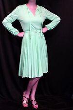 S~M Mint Green Flat Knit Vtg 70s Accordian Pleat Skirt Secretary Day Tea Dress