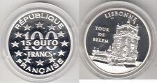 Monnaie BE 100 Francs - 15 Euro argent  LISBONNE Tour de Belém 1997