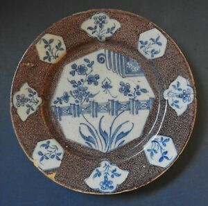 DELFT MANGANESE AND BLUE & WHITE PLATE - 18TH CENTURY