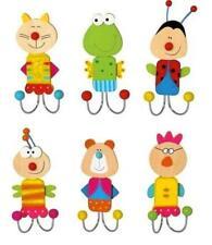 6er Set Kinder Garderobenhaken Wandhaken Lustige Tiere Doppelkleiderhaken
