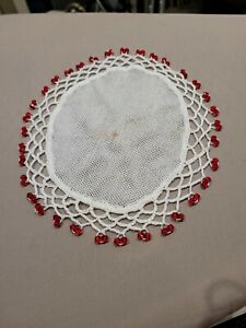 Vintage Doily Red beaded Jug cover