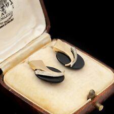 Antique Vintage Deco Retro Style 14k Bi Gold Onyx Diamond Spray Cluster Earrings