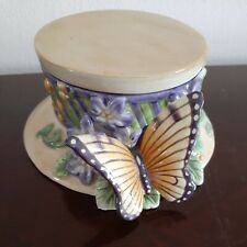 Fitz And Floyd Essentials Butterfly Hat Keepsake Box 1980s Vintage New Perfect