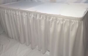 21' WHITE POLYESTER PLEATED TABLE SKIRT skirting  Catering Trade show