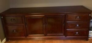 """Vintage Solid Rosewood Credenza Cabinet Sideboard 72""""x18""""x26"""" Oriental Buffet"""