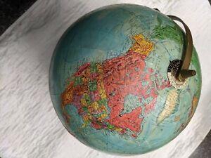 "VINTAGE 50s MID CENTURY 12"" REPLOGLE REFERENCE WORLD GLOBE METAL BASE"