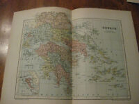 Nice Antique Map of Greece c. 1895 Johnston