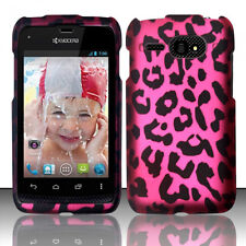 Kyocera Event C5133 Rubberized HARD Protector Phone Case Cover Hot Pink Leopard