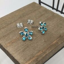 High Quality Blue Flower Crystal Titanium Stud Earrings Made in Korea US Seller