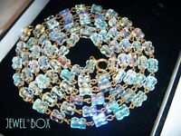 EARLIER VINTAGE 50s FANCY BEADS Aurora Borealis AB Crystal LONG WIRED NECKLACE