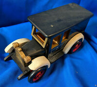"Custom Handmade Wooden Model Antique Car VTG Carved 9"" HO Toy Rare Flip Top"