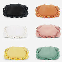 2020 Acrylic Chain Ruched Faux Leather Clutch Pouch Shoulder bag Purse Crossbody